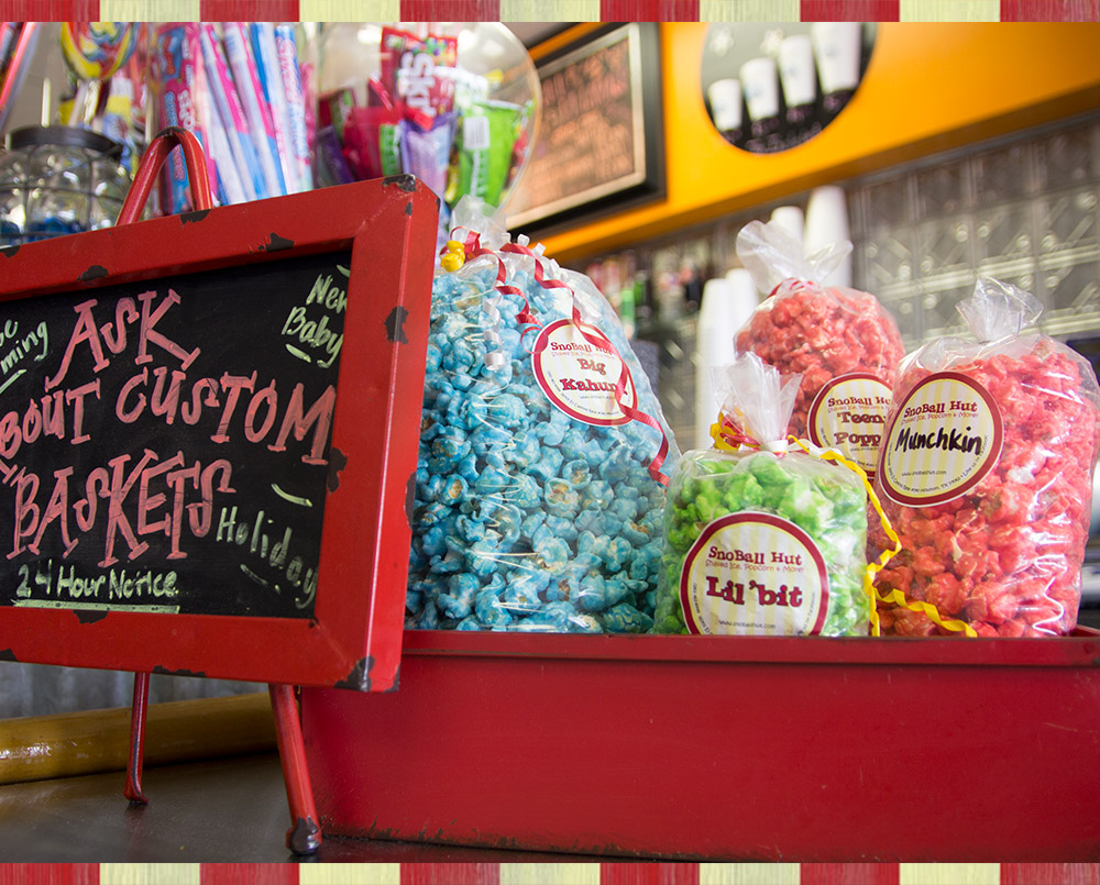 We offer a wide variety of delicious specialty gourmet popcorn flavors.